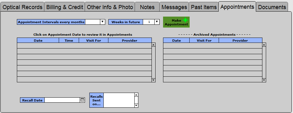 Appointments tab (add-on feature)